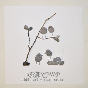 Unframed • Unique Pebble Art Love Birds And A Tree • Fits in IKEA RIBBA shadow box frame