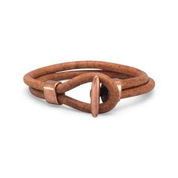 "9"" Leather and Copper Bracelet"