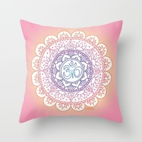 Peaceful Ohm Mandala Throw Pillow by Julie Erin Designs