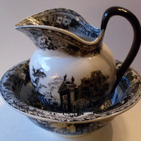 PrimiTive Folkart Black Transferware Bowl & Pitcher   TheWareHouseShelf  Collectibles We Ship Internationally