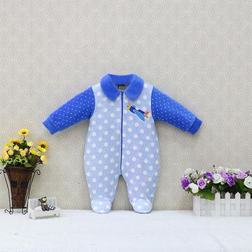Baby Long Sleeve Peter Pan Collar Rompers One Piece Clothes Velour Kids Clothing Zipper Newborn Sleep Suits