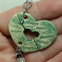 Friendship Heart pendants set of 2 pottery pieces teal green Always together quote