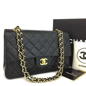CHANEL Double Flap 25 Quilted CC Logo Lambskin w/Chain Shoulder Bag Black/ kGX x