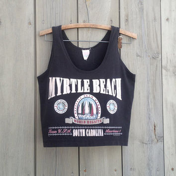 Vintage tank top | 1990s Myrtle Beach South Carolina tourist souvenir crop top tanktop