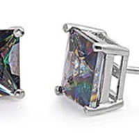 925 Sterling Silver CZ Casting Square Stud Earrings CZ RAINBOW MYSTIC TOPAZ
