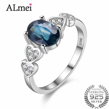 Almei 0.7ct Natural Blue Sapphire Stone Retro Silver Wedding Engagement Rings S925 Fine Jewelry for Women with Gift Box 40%FJ023