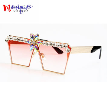 MONIQUE New Fashion Women Sunglasses Luxury Rhinestone Oversize Sunlgasses UV400 Gradient Vintage eyeglasses frames for Women