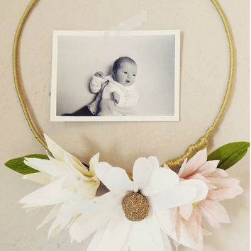 Simple paper flower wreath frame nursery decor