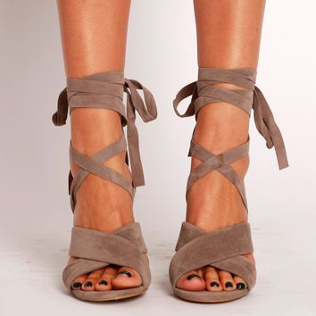 Overstepping Lace Up Heel Taupe