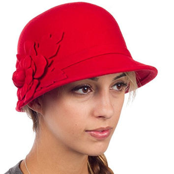 Sakkas 22CY Clara Vintage Style Wool Cloche Bucket Bell Hat - Red - One Size