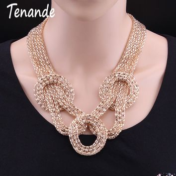 Tenande Punk Gold Color Popcorn Chain Big Statement Knotted Wrap Alloy Choker Necklaces & Pendants for Women Tribal Jewelry