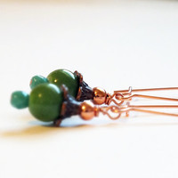 Rose Gold Plated Green and Blue Earrings