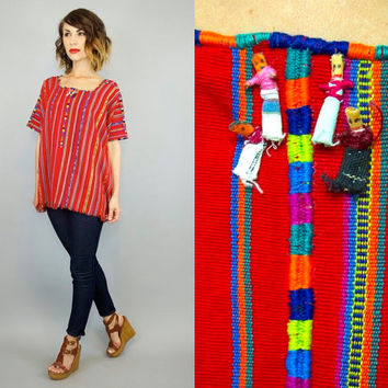 "vintage 1980's handwoven GUATEMALAN bohemian ethnic folklore VOODOO ""worry dolls"" fringed blouse top, extra small-medium"