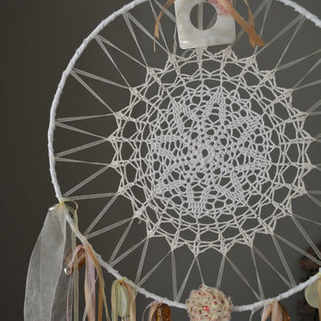 A vintage lace doily dream catcher in Pastel and White shades --- A vintage elegant touch or an special present