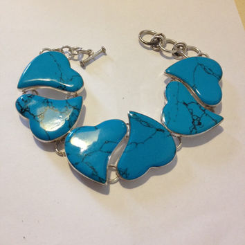 "Sterling Turquoise Heart Bracelet Adjustable 7.5"" 8.75"" Silver 925 Mexico Mexican Vintage Jewelry Blue Southwestern Birthday Mother's Gift"