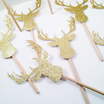 Boho Cupcake Topper, Gold Antler Cupcake Topper, Glitter Cupcake Topper, Gold Deer Cupcake Topper, Baby Shower Decor, Woodland Theme