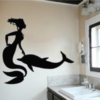 Wall Decals Sea Ocean Mermaid Dolphin Decal Vinyl Sticker Bathroom Nursery Home Decor Art Mural Ms699