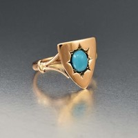 Victorian 15K Gold Turquoise Shield Ring