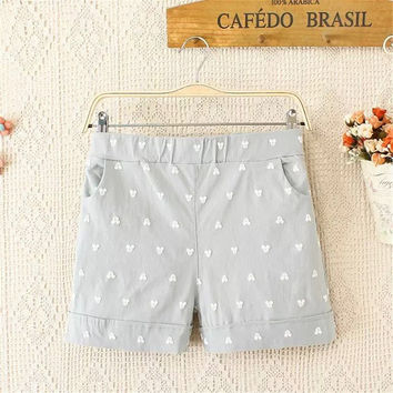 Summer Plus Size Women's Fashion Sweets Cartoons With Pocket Casual Shorts [4918897540]