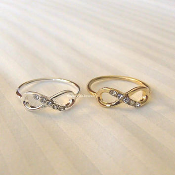 Infinity ring with diamonds - Gold and Silver; cute and simple solid infinity rings; minimalist knuckle rings, midi rings, mini rings