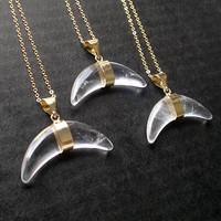 Clear Quartz Necklace Stone Necklace Clear Quartz Pendant Stone Crescent Necklace Stone Crescent Necklace Stone Jewelry Clear Quartz Jewelry