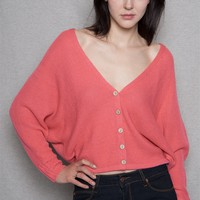 The Timing Inc  Open Back Button-Down Cardigan With Dolman Long Sleeves - Coral