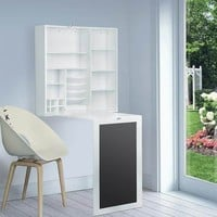 Fold-Out Wall Mount Desk with Storage Cabinet and Shelves, White | Overstock.com Shopping - The Best Deals on Desks