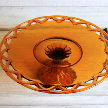 Old Colony Open Lace Edge Cake Stand in Amber Glass : vintage