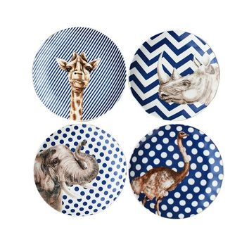 Porcelain Animal Print Dinner Plates