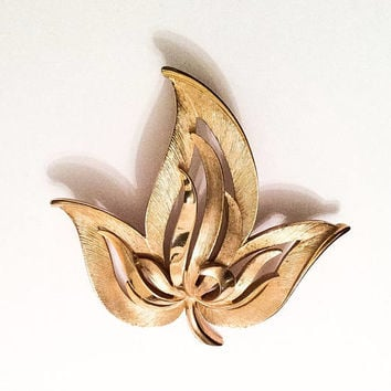Trifari Modernist Gold Leaf Brooch, 1960s Vintage Jewelry SPRING SALE