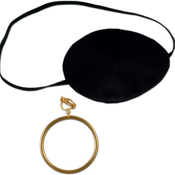 "pirate eye patch with plastic earring - 2.5"" Case of 12"