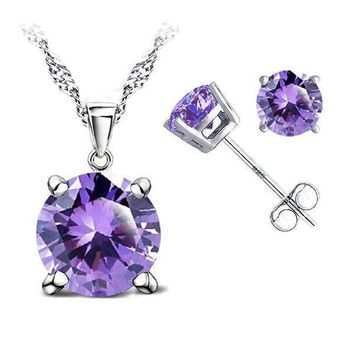 Crystal Necklace & Earrings Bridal Bridesmaid Jewelry Set