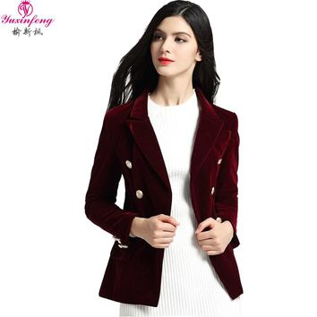 Yuxinfeng 2018 Spring Black Wine Red Velvet Blazer Women Long Sleeve Buttons Suit Jacket Office Ladies Blazers Work Wear