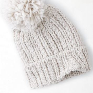 15413dec7df AEO Women s Solid Pom-pom Beanie (Oatmeal from American Eagle