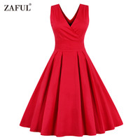 ZAFUL Women Sleeveless Vintage Summer Dress 50s 60s Swing Retro Swing Plus Size M~4XL Cotton Party bowknots Feminino Vestidos cb