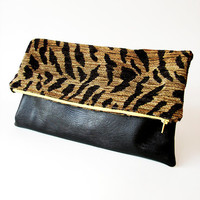 Oversized Clutch Purse Tiger Print and Black Faux by Stoic on Etsy