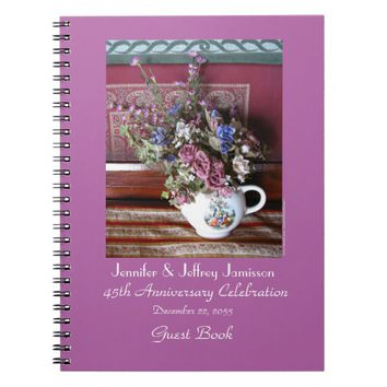 45th Anniversary Party Guest Book, Vintage Teapot Notebook