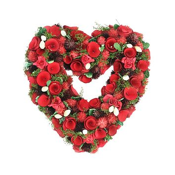 """13.5"""" Red Rose Flower Heart Shaped Artificial Valentine's Day Wreath - Unlit"""