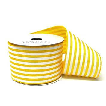 Cabana Stripes Satin Wired Ribbon, Yellow, 2-1/2-Inch, 10 Yards
