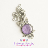 Purple Owl Necklace, Owls Statement Necklace, Animal Necklace, Owl Jewelry, Violet Lila Necklace, Owls Jewelry, Bird Necklace, Gifts