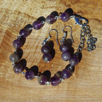 Amethyst Bracelet and Earring Set ~ February Birthstone ~ Amethyst Earrings ~ Amethyst Bracelet ~ Purple Stone Bracelet and Earring Set