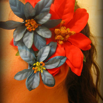 LARGE Hair Flower Hair Accessory with Poinsettia and blue flowers