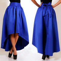 Women's Asymmetry Maxi Skirt Pleated Skirts = 1945786756