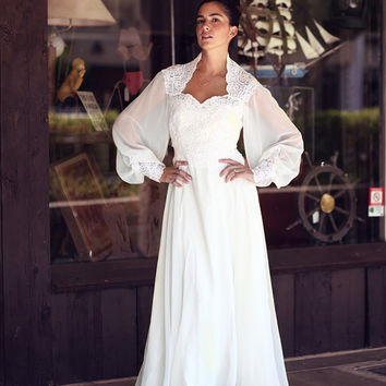ivory crochet lace chiffon sheer poet sleeve wedding dress - Lyrica