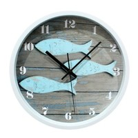 ZLYC 12 Inch Vintage North Europe Style Fish Nautical Round Silent Quartz Arabic Numerals Wall Clock Home Decor