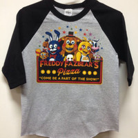 Red Cheeks Five Nights at Freddy's  Adult or Kids Raglan 3/4 Sleeve Shirt