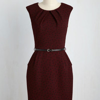 Teaching Classy Dress in Burgundy Dots | Mod Retro Vintage Dresses | ModCloth.com