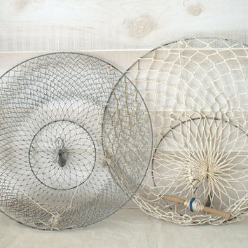 Vintage Crab Ring Net, Wire Mesh Crab Pot, Coastal Lake House Fishing  Decor