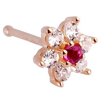 Christina Red Flower 14K Yellow Gold Nose Ring Bone 20G