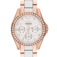 Fossil Ladies Riley Rose Gold-Tone & White Crystallized Watch